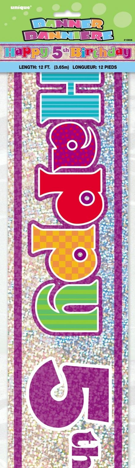 Happy 5th Birthday Foil Banner